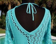 Cache $118 PEEK-A-BOO METALLIC KISSED KNIT DBL V TIE-IN BACK Top NWT S/M/L