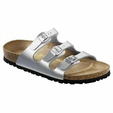 Birkenstock FLORIDA Ladies Womens Buckle Birko-Flor Summer Beach Sandals Silver