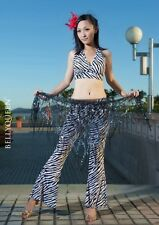 FN# Brand New Black&White Belly Dance Costume Top&Pants