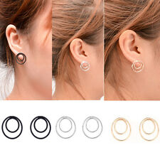 Women Double Circle Earrings Simple Geometric Ear Stud Punk Unique Design