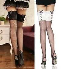 Super Sexy Black Fish Net White Lace Top Stockings Back Bandage Thigh-Highs-2078