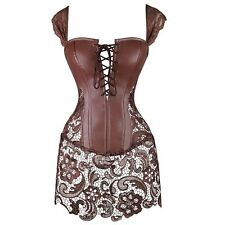 Steampunk Gothic Waist Cincher Dress Faux Leather Bustier Corset Lace Skirt NW