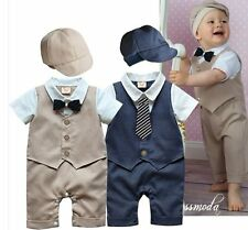 Baby Boy Wedding Christening Tuxedo Formal Suit Romper Outfit Clothes+HAT 6-24M