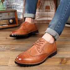 Classic Brown England Brogue Men's formal Wing Tip lace up oxfords carving shoes