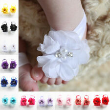 2 Pairs Cute Baby Infant Beautiful Chiffon Foot Flower Barefoot Sandals Shoes