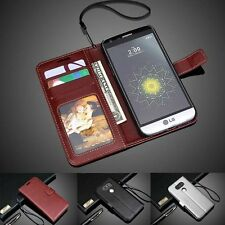 Luxury PU Leather Wallet Card Holder Flip Cover Stand Case For LG Smart Phone
