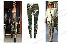 Womens Ladies Full Length Camouflage Army Print Legging Camouflage Trouser 8-14