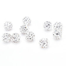 New 10/20Pcs Fashion Crystal Rhinestones Pave Clay Round Disco Ball Spacer Beads
