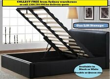 Gas Lift Ottoman Storage Bed Queen Double PU Leather Black available