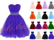 New Short Tulle Rhinestone Formal Evening Party Ball Prom Gown Bridesmaid Dress