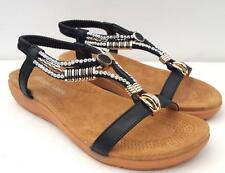 BEAUTIFUL 7.8.9.10.11 Diamante Beaded DRESS SANDALS Low Heels ANKLE STRAP Shoes