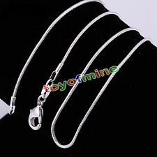 """Plated Sterling Silver 925 Snake 2mm Chain Necklace 16"""" 18"""" 20"""" 22"""" 24"""""""