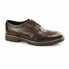 Base London TRENCH Mens Washed Leather Fashion Breathable Brogue Shoes Brown