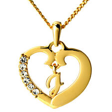 Heart Letter J Initial Name Necklace 18k Gold Plated Jewelry Birthday Gifts