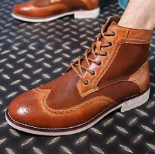 NEW CHIC Mens British Vintage Brogue High Top Brogue Leather Chukka Ankle Boots