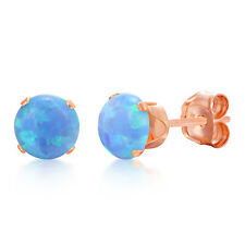 Round Baby Blue Simulated Opal Stud Earring Rose Gold Plated Sterling Silver 925