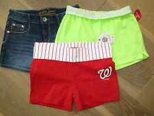 NWT Justice Jean,Washington National Athletic,Neon Green Girl Short 14 U PIC