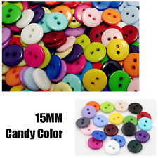 100Pcs New Plastic Sewing Buttons Scrapbook 15mm 2 Holes for Craft DIY Buttons