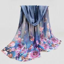 Women Autumn Long Scarf Wraps Sexy Soft Chiffon Voile Scarves Shawl Floral Print