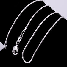 "Wholesale 925 Sterling Solid Silver 5pcs 1mm Snake Chain Necklace 16""-30"" Hot UK"