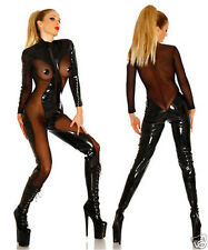 Sexy Women Wet PVC Leather Black Party Costume Overall Catsuit Clubwear Jumpsuit