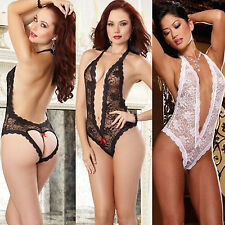 NEW WOMEN SEXY SEE THROUGH DEEP V NECK LACE SUIT SLEEPWEAR / PANTIES