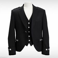 Scottish Argyle Kilt Black Men Jacket with Waistcoat Handmade Custom Sizes
