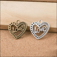 New 30PCS Vintage Bronze/Silver Heart Love charms pendants DIY Jewelry 25x25mm