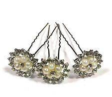 High Quality Elegant Big Vintage Pearl Crystal Wedding Bridal Hair Pins ''Lot'