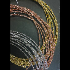 ITALY Sterling Silver DC-cut Twist Wire Necklace-DC-cut Rope-Gold-Rose Gold