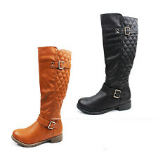 WOMENS LADIES BLOCK HEEL QUILTED KNEE HIGH BIKER RIDING BOOTS SHOES SIZE 3-8