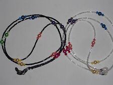 "Pearl Crystal Rainbow Eyeglass Chain~Choose Black or Clear~28""~New~Free Shipping"