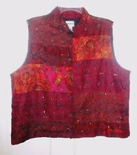 CHICO'S Size 2 Womens, Colorful, Silk Blend ~ Artsy, Embroidered Vest ~EXCELLENT