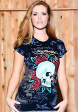 ED Hardy Womens Skull & Roses Allover Tattoo Print T Shirt black