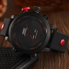 OHSEN 3D Arabic Numeral Analog Digital Wrist Quartz Mens Sport Watch Date Alarm