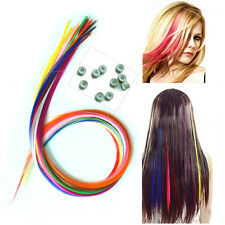 12s Straight Multicolor Grizzly Rooster Feather Hair Extensions With Beads Free