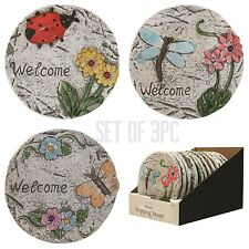 set of 3 MOSAIC GARDEN CONCRETE STEPPING STONE DECORATION