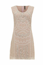 Ladies Vintage 1920s Flapper Gatsby Downton Abbey Fringe Beaded Dress Size 8-16