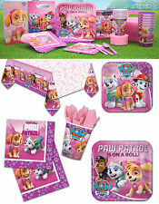 Pink Paw Patrol Pink Girls Birthday Decorations Plates Cups Napkins Tablecover