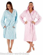 Ladies Fleece Sparkly Star Love You To The Moon & Back Hooded Dressing Gown