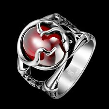 316L Stainless Steel Vintage Men Sexy Red Eye Punk Rock Ring Jewelry Size 8-11