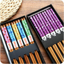 Nice 5 Pairs Eco-friendly Chopsticks Japanese Wood Chopsticks Gift With Box