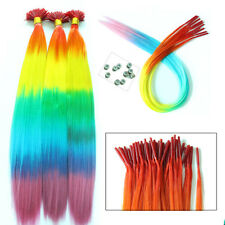 10/50pcs Rainbow Straight Synthetic Grizzly I-Tip Hair Extensions + Beads Free