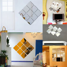 6pcs Square Modern Mirror Effect DIY Wall Stickers Decal Bedroom Home Decor Art