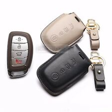 4Button Stitched Smart Key Leather Case Cover Holder Pouch Hook BB-6 for HYUNDAI
