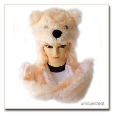 New Animal Winter BEIGE * POLAR BEAR * Mascot Fancy Costume Mask Hat Cap Glove.