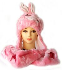 NEW Animal Winter Hats PINK * BUNNY * Mascot Fancy Costume Mask Hat Cap Glove.