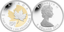 2013 25TH ANNIVERSARY GOLD PLATED 1OZ SILVER MAPLE LEAF COIN 0.9999 FINE SILVER
