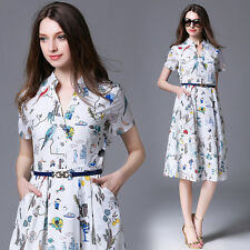 New Fashion Occident Womens OL V-Neck Short Sleeve Printed Shirt Dress With Belt
