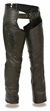 Ladies Naked Cowhide Leather Biker Chaps w/ Wing Embroidery, Studded Detailing